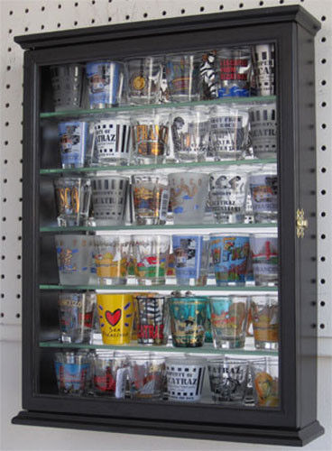 Shot Glass Shooter Display Case Wall Cabinet Shadow Box