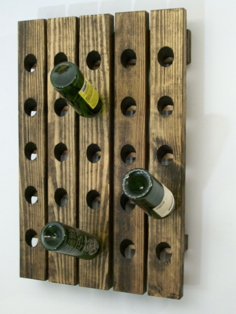 Riddling wood wine rack handcrafted wall hanging ebay