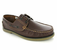 Mens DEK Smooth Brown Leather Moccasin Boat Deck Lace Shoes Loafers Size 6-12