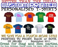 Mens Unisex T Shirt Printing Custom Design Your Own Personalised Stag & Hen
