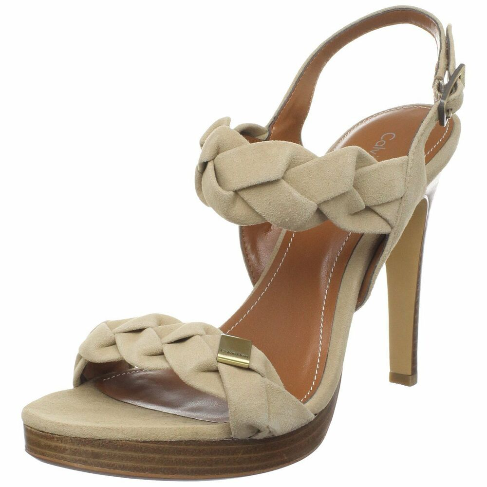 calvin klein licia kid camel suede e8332 high heels shoes