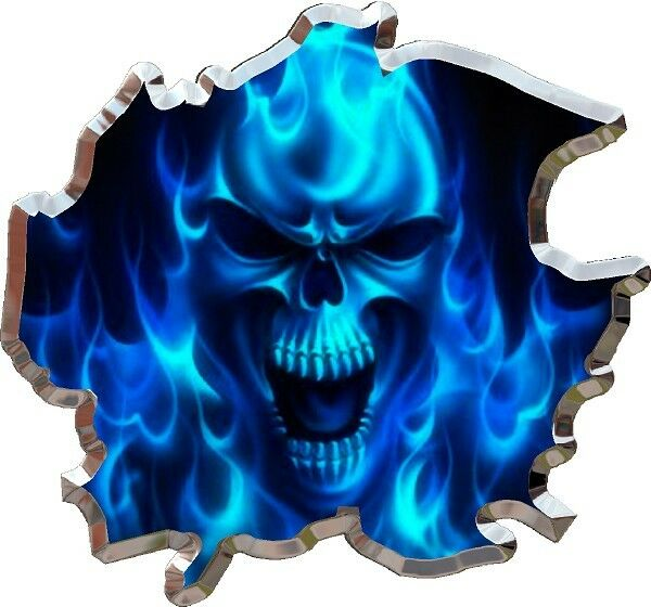Ripped Flaming Skull Race Car Go Kart Motorcycle Hood
