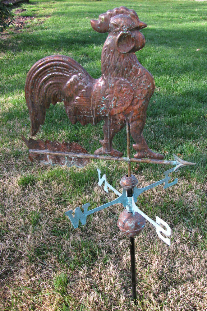 Antique Finished Full Size Real Copper Large Rooster