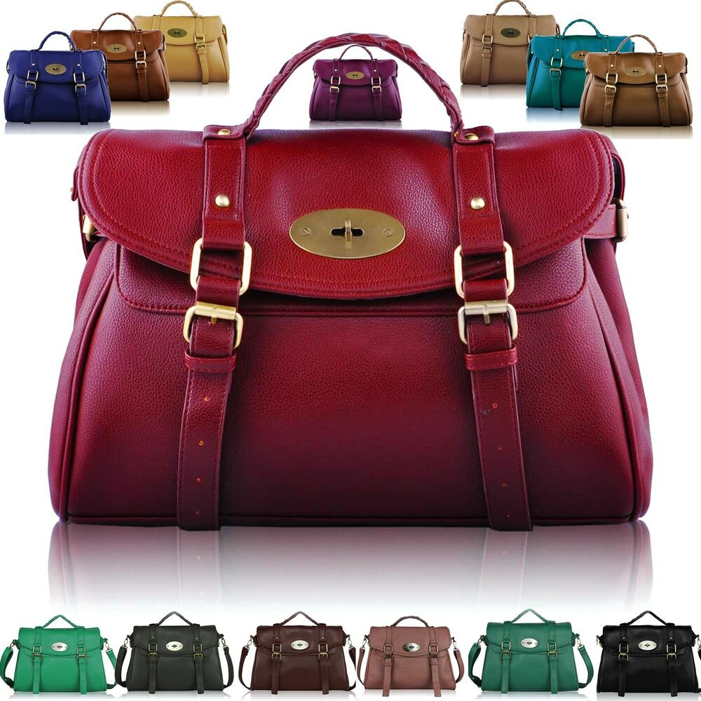 Large Womens Designer Leather Style Satchel Bags Shoulder Office ...