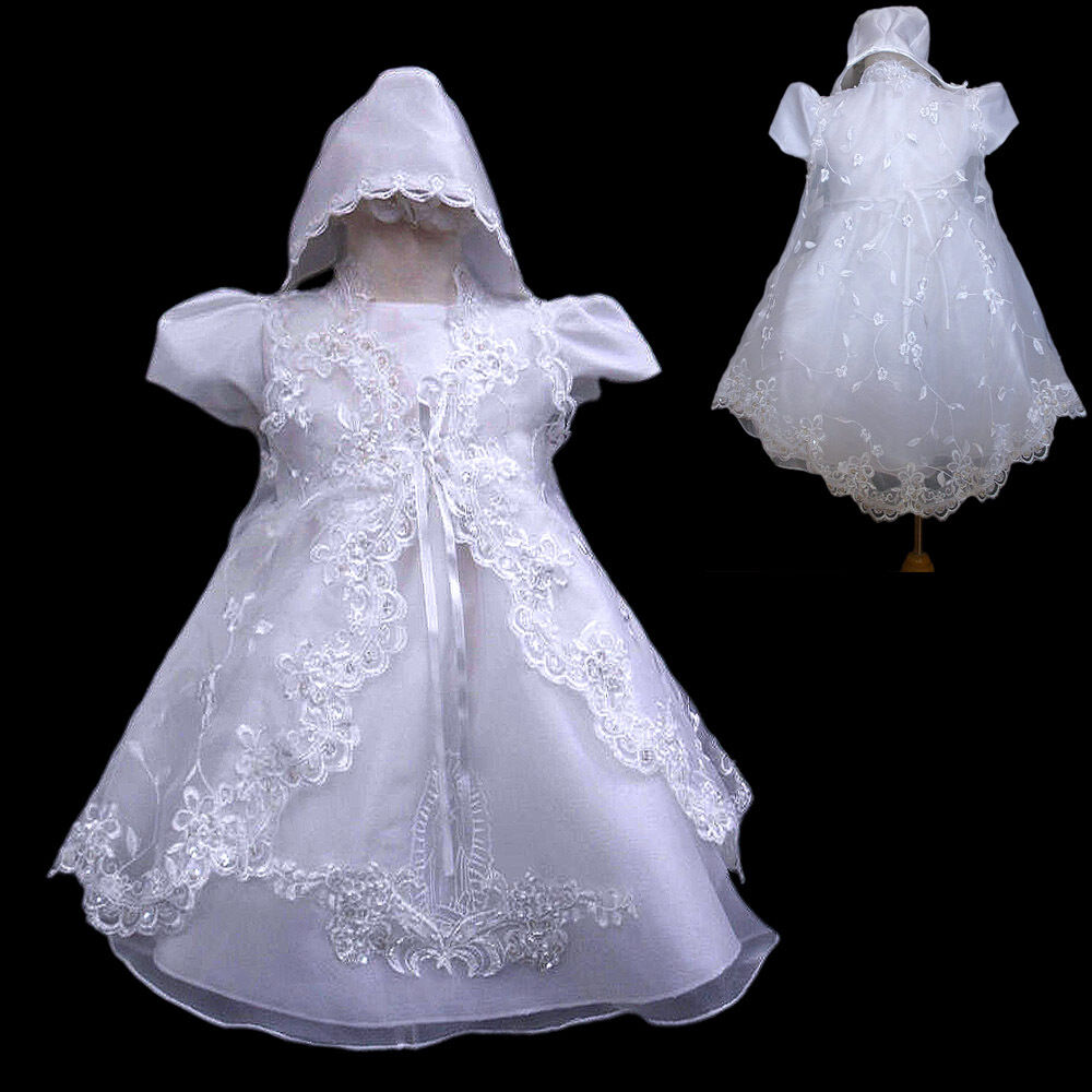 New baby girl christening baptism formal dress gown new for Making baptism dress from wedding gown