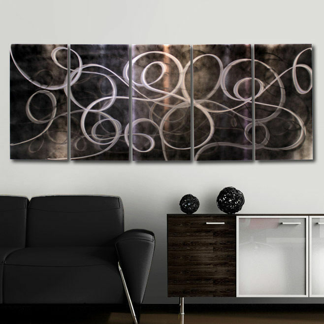Wall Decor For Accent Wall : Contemporary metal painting abstract wall art decor accent