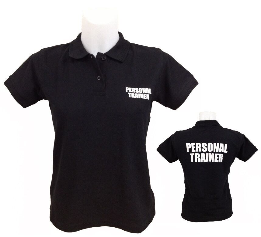 Personal trainer polo shirt 8 16 printed front back for Custom personal trainer shirts