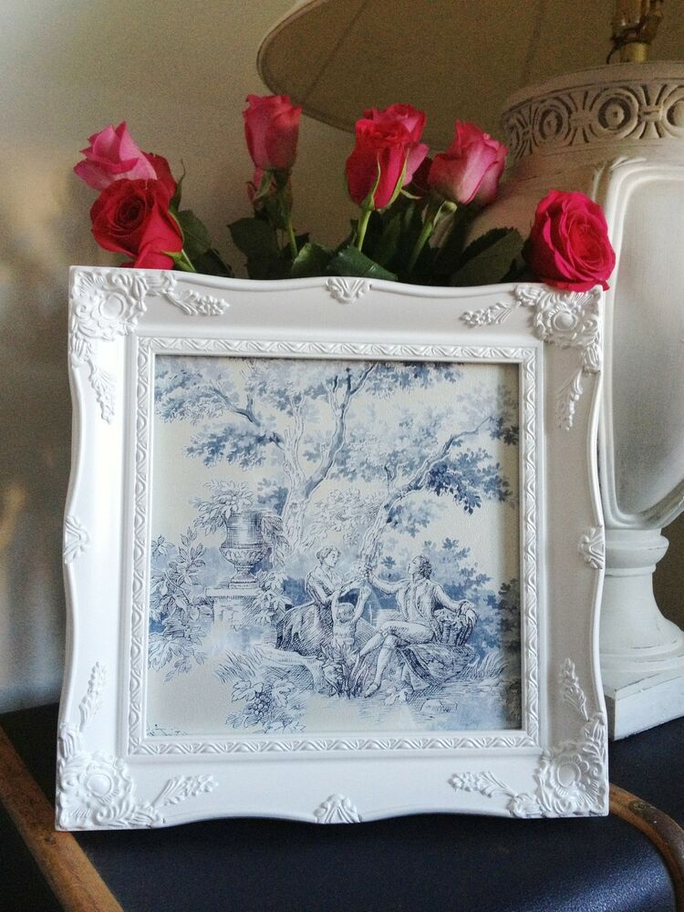 shabby chic square ornate picture frame antique black ivory gold