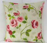 BRAND NEW SINGLE CHIC CUSHION COVERS FLORAL DUSKY PINK ROSES AND GREEN LEAVES