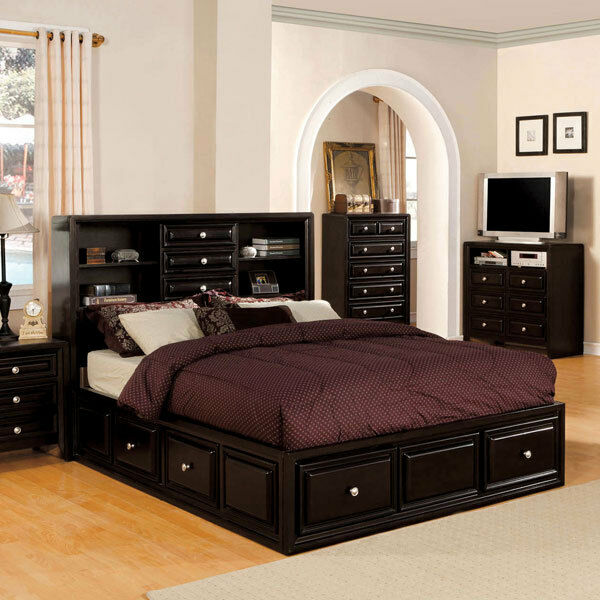 Solid Wood Dark Espresso Finish Platform Bed Frame Set Ebay