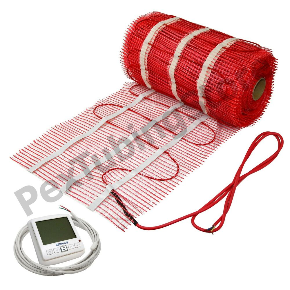 Electric radiant floor heat kit w 5 sqft 120v heating mat for Electric radiant heat thermostat