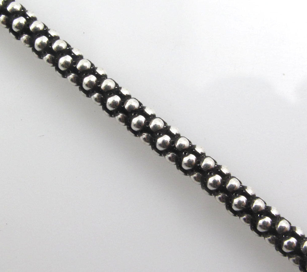 3mm corn cluster popcorn bead 925 sterling silver chain