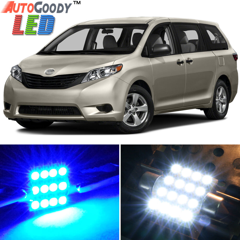 19 x premium blue led lights interior package kit for toyota sienna 2011 2017 ebay for Led car interior lights ebay