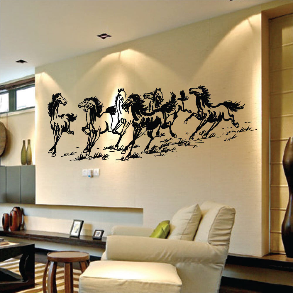 large eight horses vinyl wall art stickers wall decals wall graphics ebay. Black Bedroom Furniture Sets. Home Design Ideas