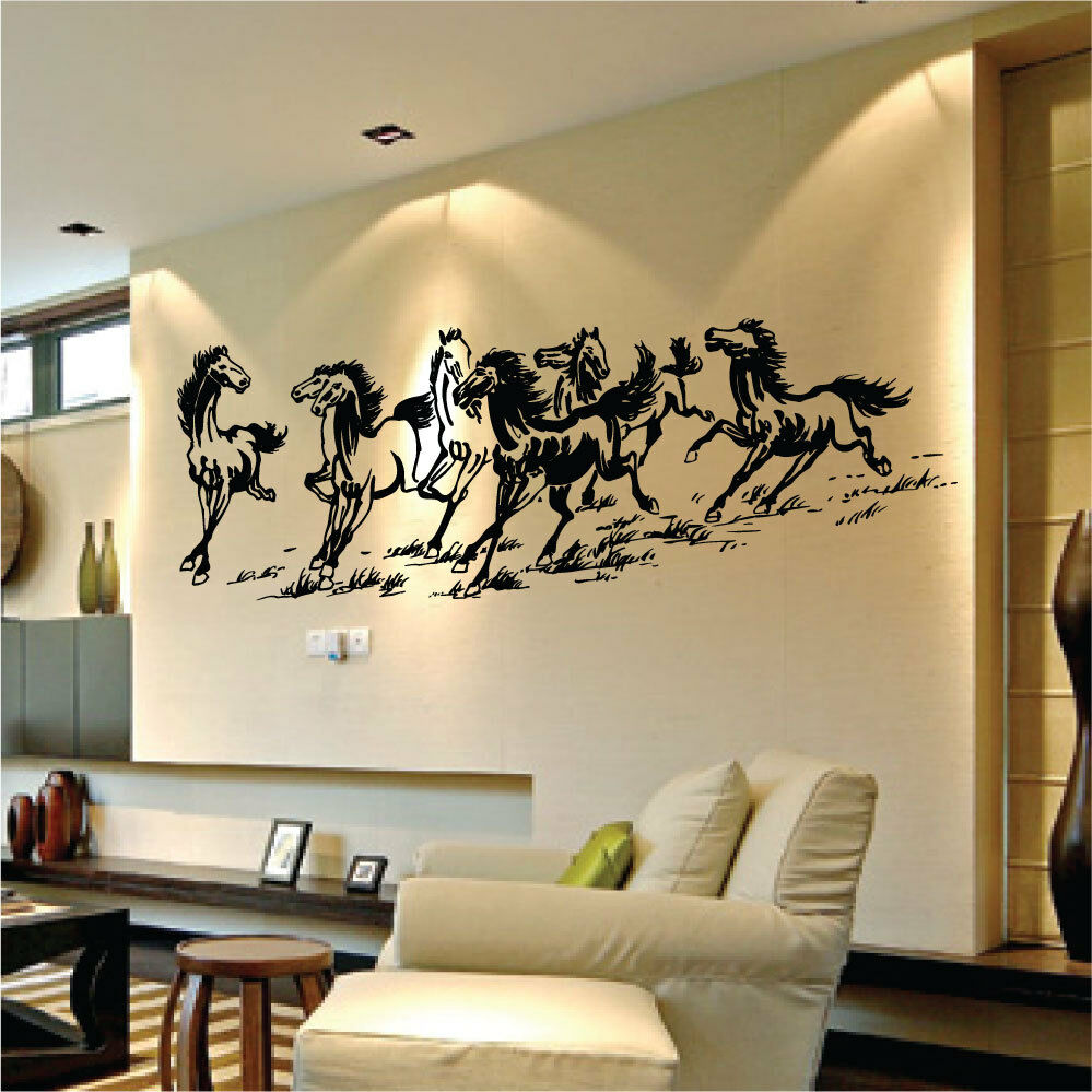 Large Eight Horses Vinyl Wall Art Stickers Wall Decals