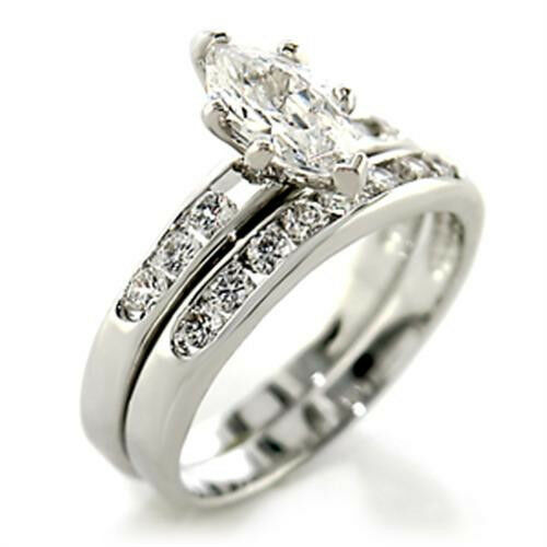 Clear Marquise Cut Wedding Band Engagement Rhodium EP Ladies Ring Set