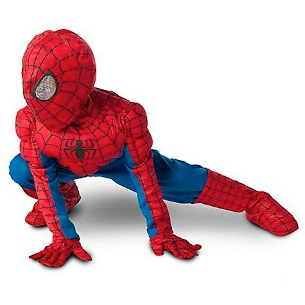 Disney Store Spiderman Light Costume Jumpsuit Gloves