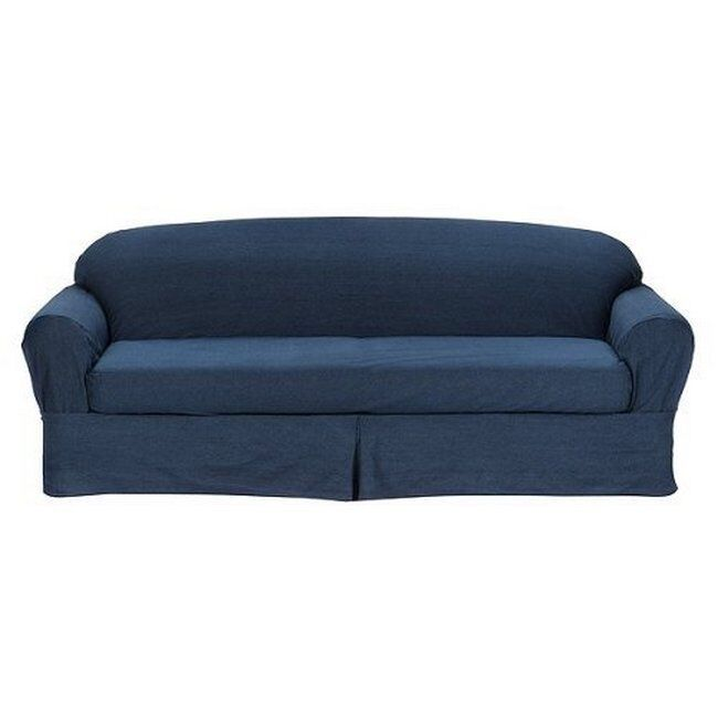 All cotton blue denim 2 piece sofacushion slicover 100 for Red denim sectional sofa