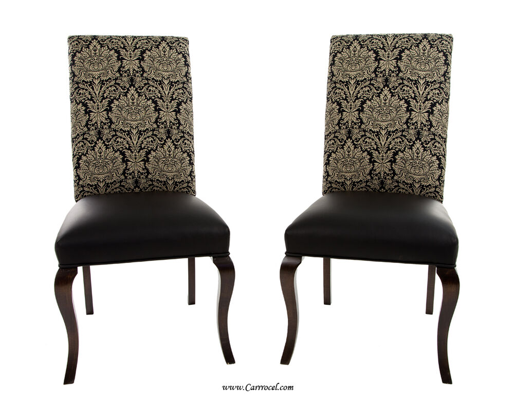 Pair Of Parsons Leather Accent Chairs With Upholstered