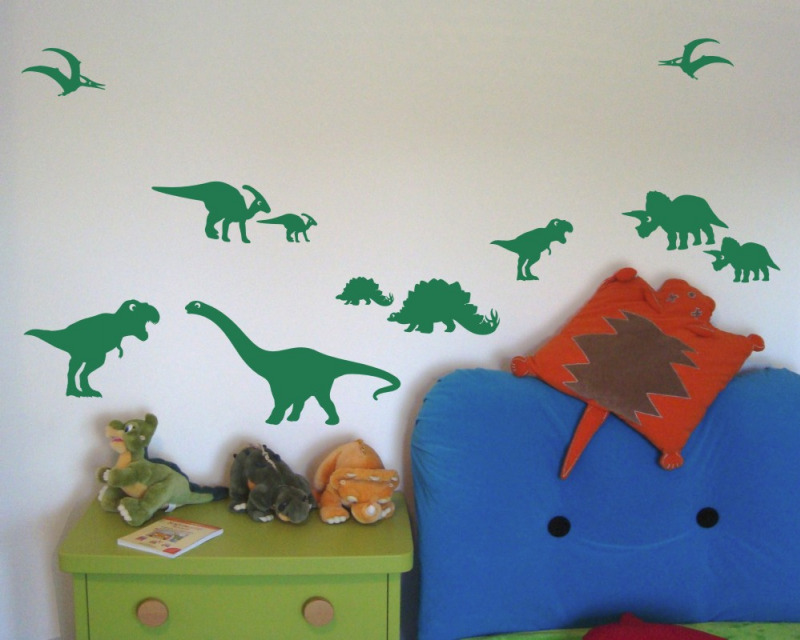 wandtattoo dinosaurier set kinderzimmer wandaufkleber 25. Black Bedroom Furniture Sets. Home Design Ideas