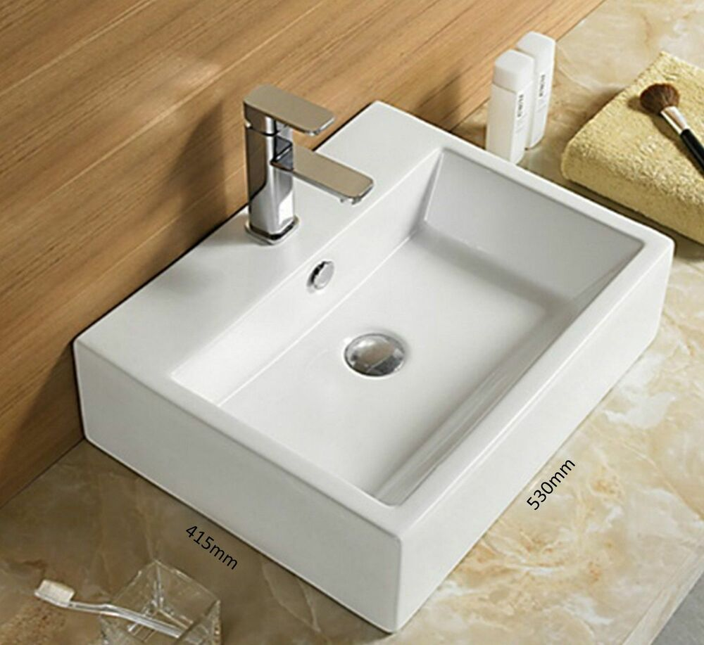 Basin sink bathroom wall hung mounted countertop square for Wall mounted bathroom countertop