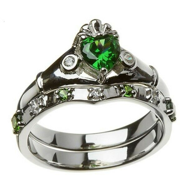 Sterling Silver Ladies Green Amp White CZ Claddagh Wedding Ring Set