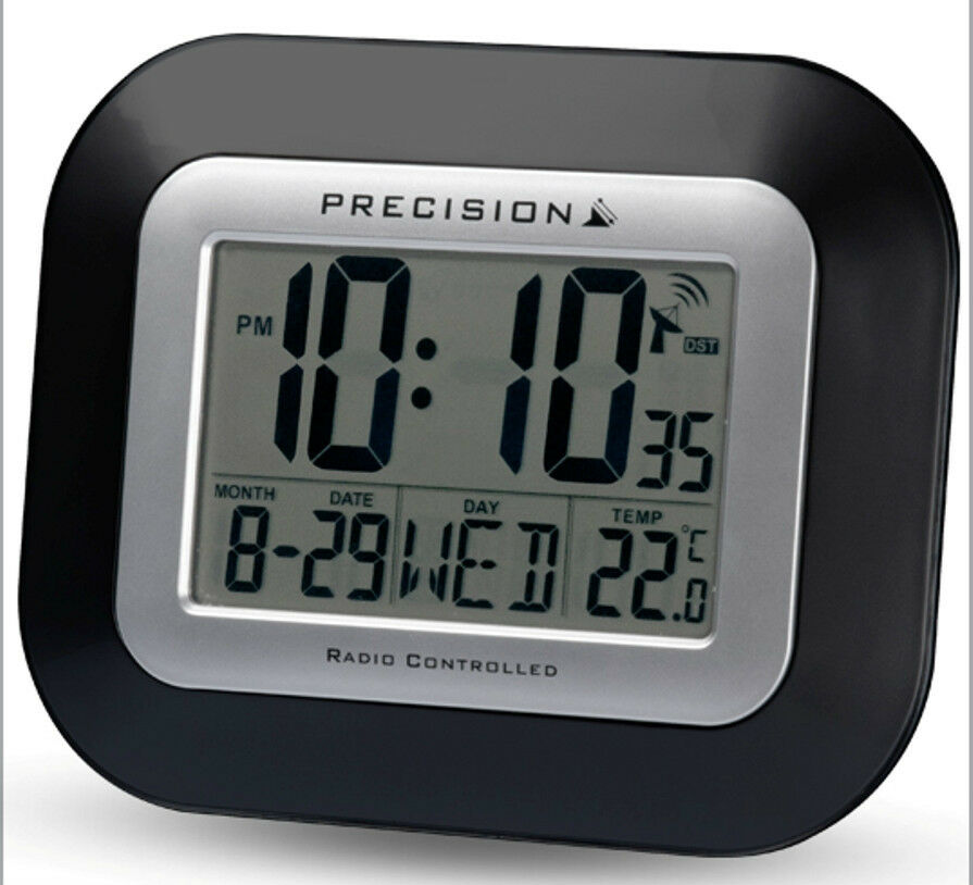 precision radio controlled large screen lcd wall or desk clock black prec0097. Black Bedroom Furniture Sets. Home Design Ideas