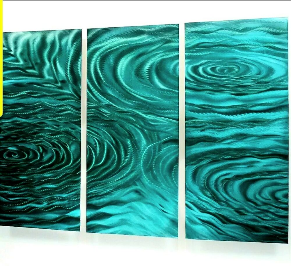 Modern abstract painting metal wall art sculpture teal for Wall artwork paintings