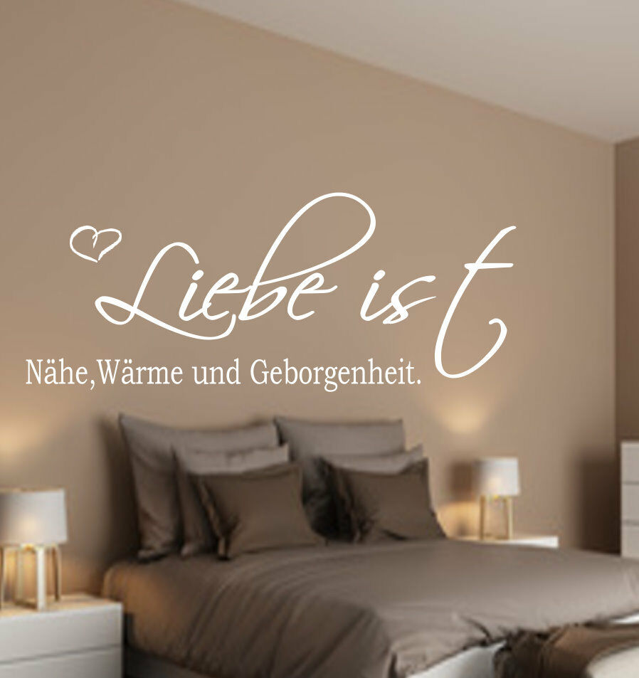 liebe ist n he geborgenheit wandtattoo schlafzimmer wanddekoration spruch herz ebay. Black Bedroom Furniture Sets. Home Design Ideas
