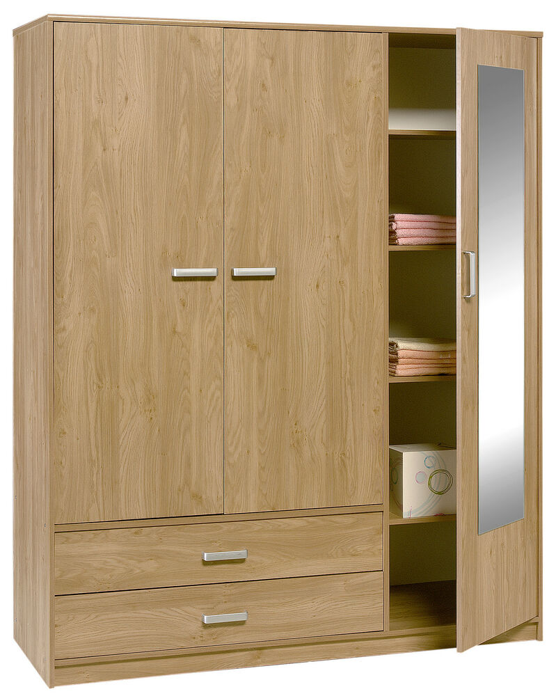 door wardrobe with drawers felix 3 door 2 drawer in oak finish ebay 4