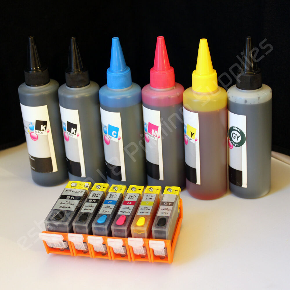Refillable CARTRIDGE & 600ml refill ink for CANON Pixma ...