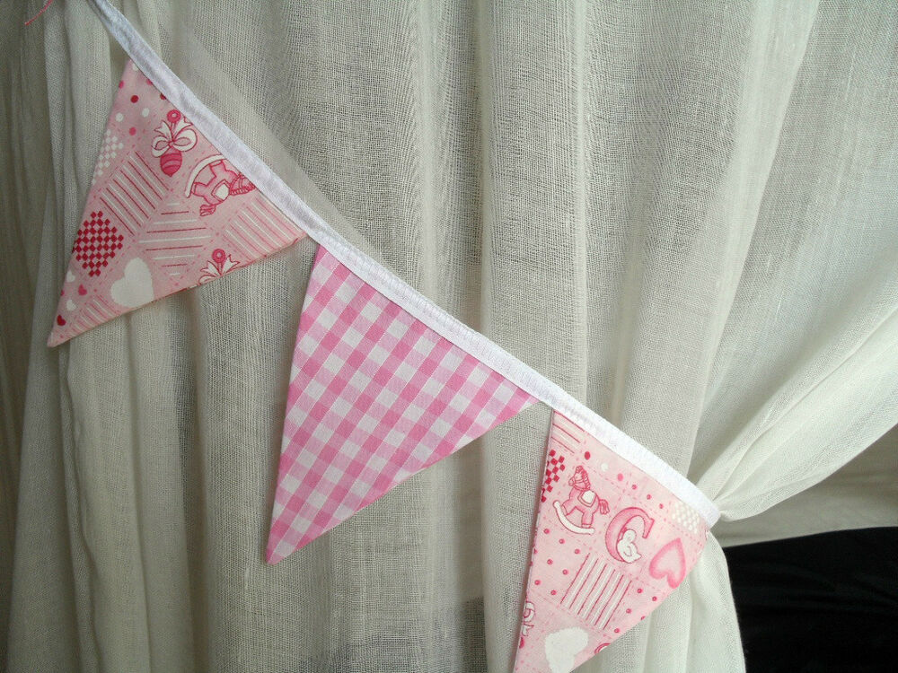 Pair of baby pink nursery fabric bunting curtain tie backs for Curtain fabric for baby nursery