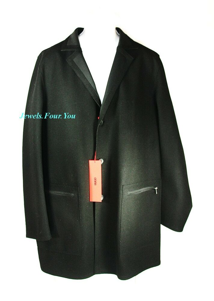 hugo boss red label amazing quality moza black wool coat. Black Bedroom Furniture Sets. Home Design Ideas