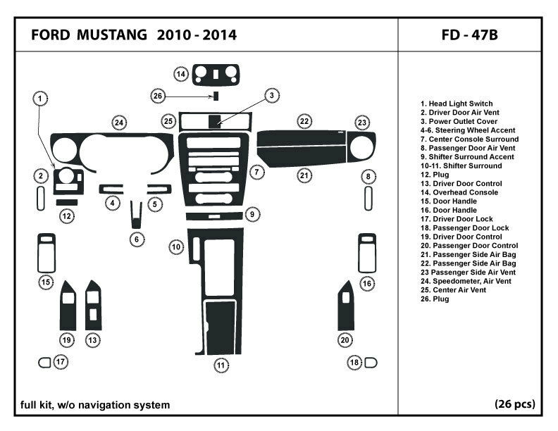 Dash trim kit ford mustang w o navigation system 2010 2014 - 2013 mustang interior accessories ...