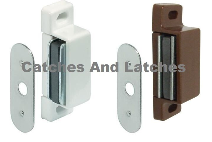 2 x magnetic catches 2kg pull white or brown kitchen