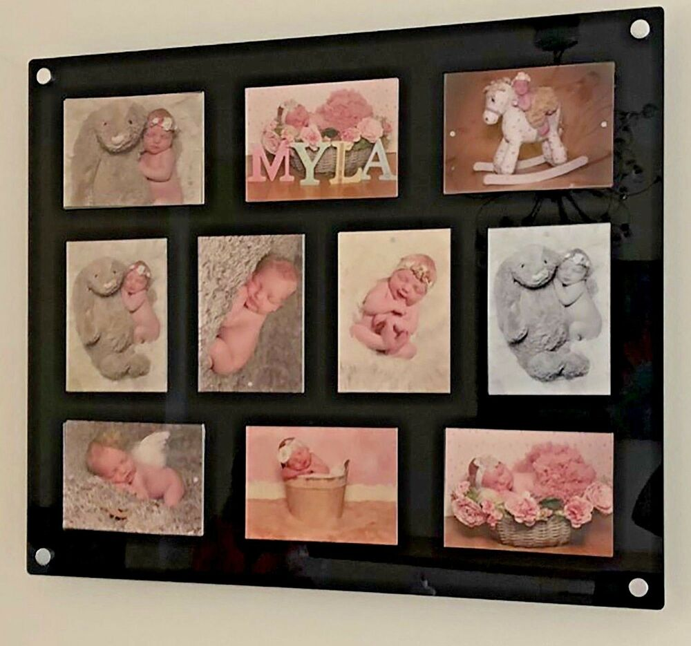 large cheshire acrylic magnetic multi picture floating photo frame for 10x 6x4 ebay. Black Bedroom Furniture Sets. Home Design Ideas
