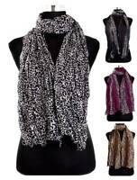 New Celebrity Large Animal Leopard Print Crinkled Shawl Scarf