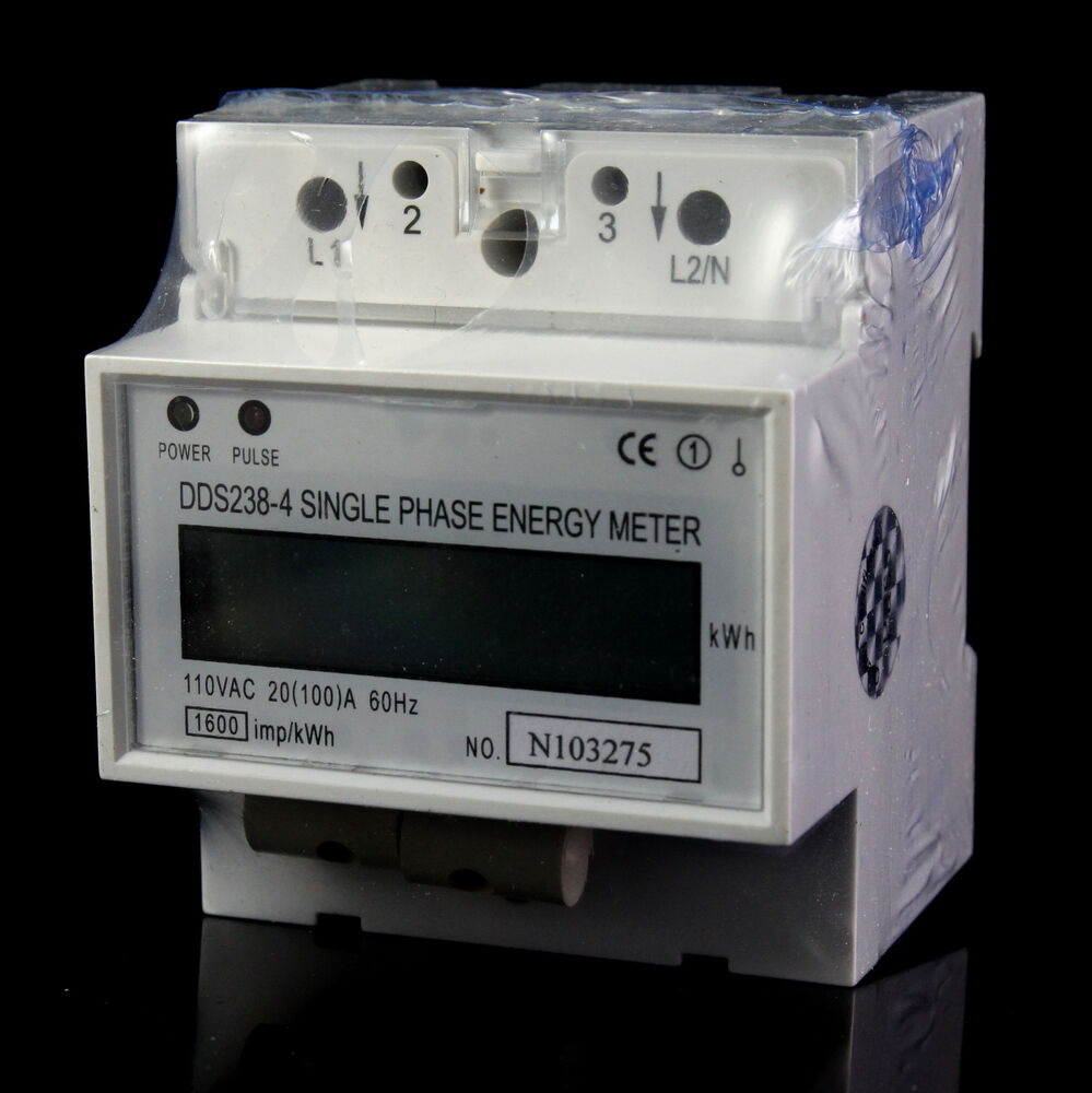 Kilowatt Usage Meter : V single phase din rail type kilowatt hour kwh meter