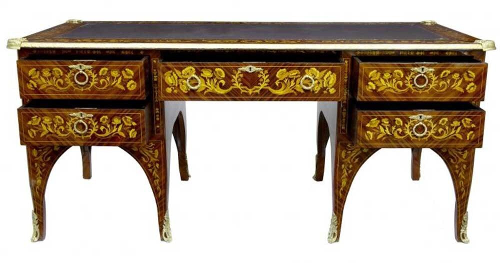 french empire desk marquetry inlay bureau plat writing table ebay. Black Bedroom Furniture Sets. Home Design Ideas