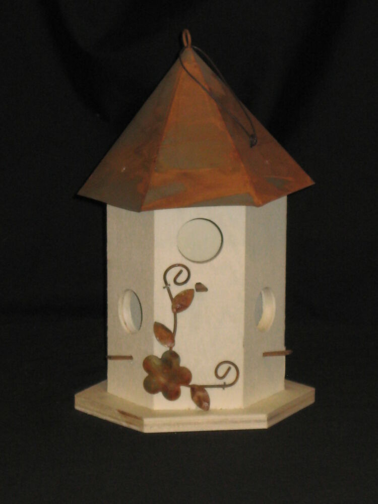 Hexagon Shape Birdhouse Unfinished Wood Metal Roof Very