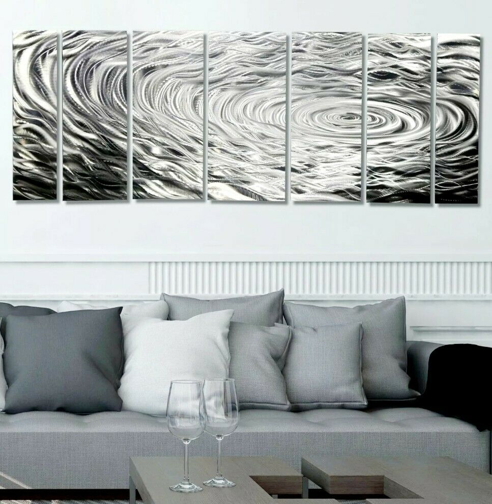 Contemporary Silvers: Modern Silver Abstract Metal Wall Art Home Decor