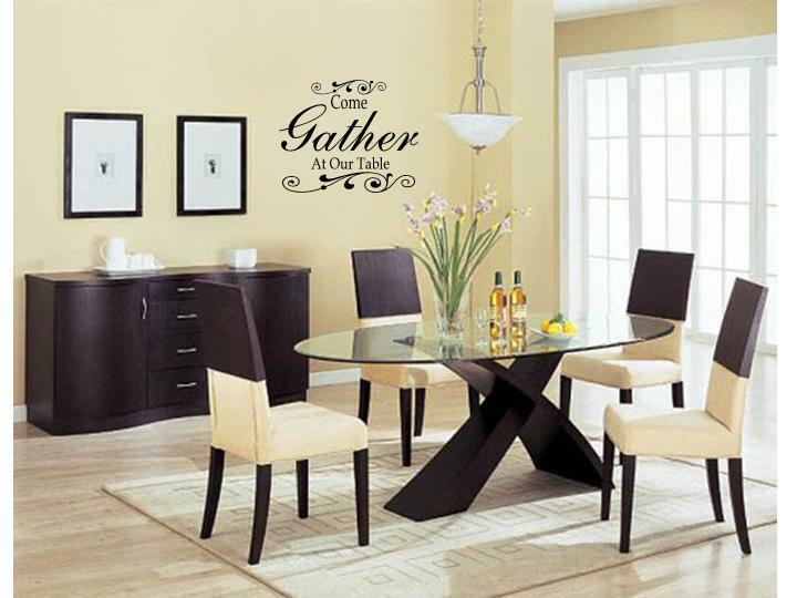Come gather at our table wall art decal decor kitchen for Kitchen and dining room decor