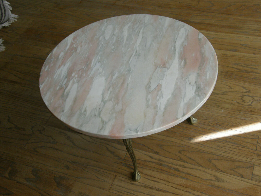 Vintage Italian Pink Marble Coffee Table 30 Inch Round Brass Legs Beautiful Ebay