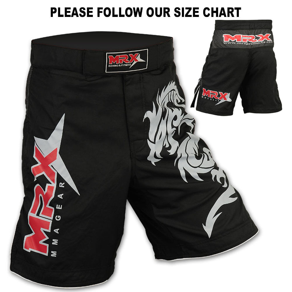 How To Get Easy Money >> MMA Grappling Shorts Kick Boxing Cage Fight Muay Thai Dragon MRX Black, Large | eBay