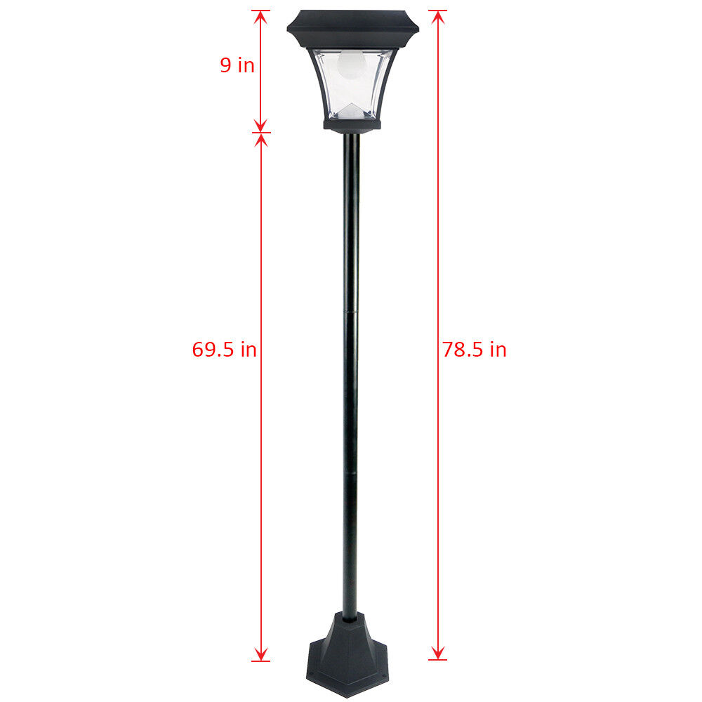 4 Foot Outdoor Solar Powered Lamp Post With: 6.5 FT Solar Lamp Post Light W/ 2 SMD LEDs Street Vintage