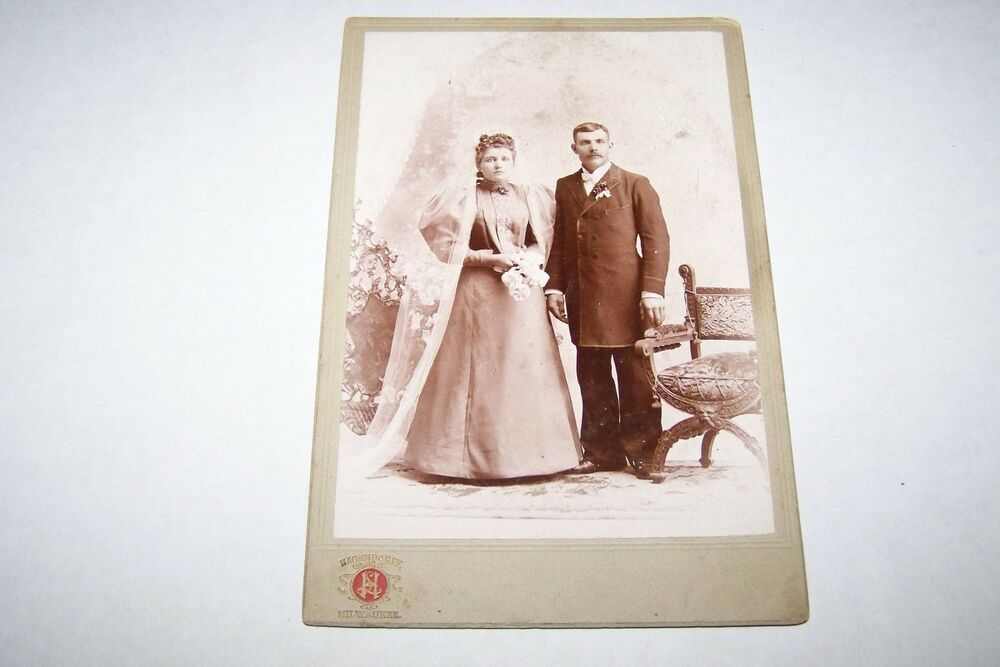 Vintage Wedding Gifts For Bride And Groom : ANTIQUE CABINET WEDDING PHOTO #231 - BRIDE - GROOM eBay