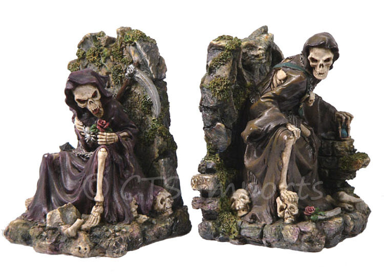 Grim Reaper Bookends Collectible Figurine Gothic Skulls And Skeletons Ebay