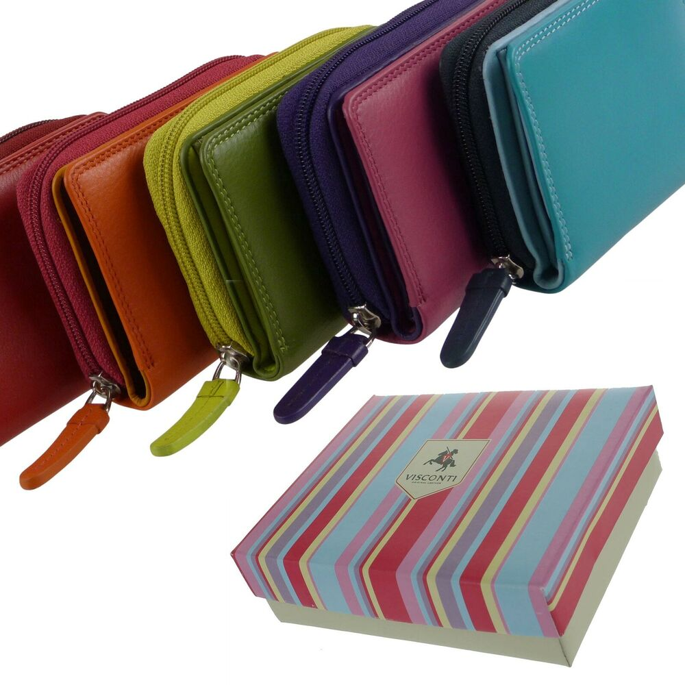 NEW Ladies Compact LEATHER Purse/Wallet by Visconti Gift ...
