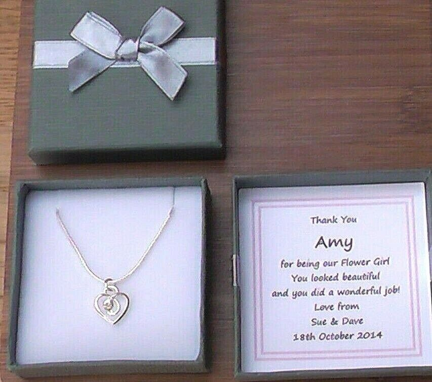 Wedding Keepsake Gifts Uk : BRIDESMAID HEART NECKLACE PERSONALISED GIFT BOX THANK YOU KEEPSAKE ...