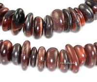 """MAHOGANY RED TIGER EYE GEMSTONE RONDELLE RIVER PEBBLE 12X10MM LOOSE BEADS 8"""""""
